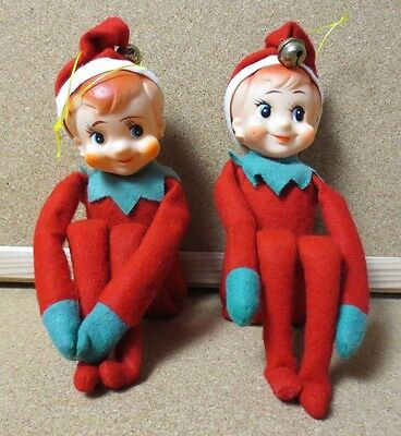 2 VTG CUTIE PIXIE CHRISTMAS FELT KNEE HUGGER JAPAN SHELF SITTER ELF Elves PG1264