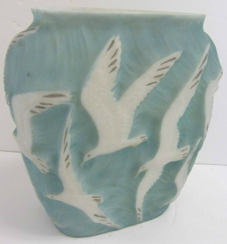20th C. Phoenix Glass Vase with Embossed Seagulls #7697