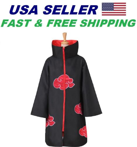 Naruto Akatsuki Uchiha Itachi Costume Coat Cosplay Size: 5
