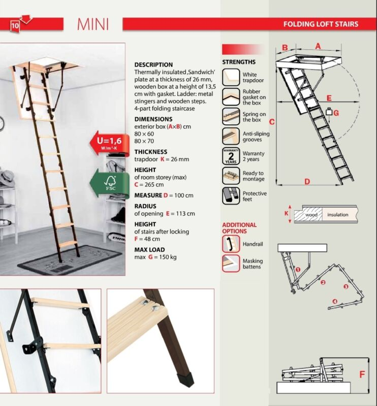70cm X 80cm Mini 4 Section Folding Wood Metal Loft Ladder