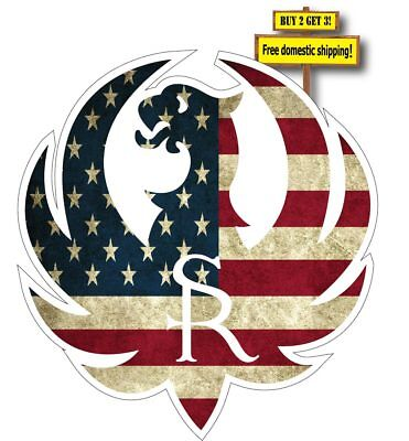 """Ruger Logo with American Flag Superimposed Decal/Sticker 3.5"""""""