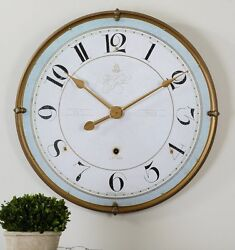 French Country Cottage Chic Antiqued Gold Frame Wall Clock Aged Ivory Blue 31½D