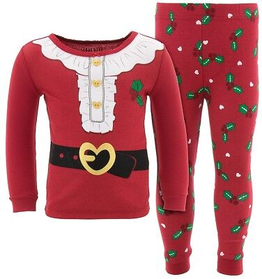 Christmas Holiday Red Santa Cotton Snug Fit Pajamas for Toddler Girls - Christmas Pajamas For Toddler Girls