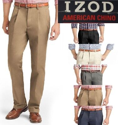 NEW Men's IZOD American Chino Classic Double Pleat Wrinkle Free 100% cotton -