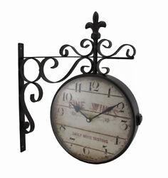 Scratch & Dent Double Sided Fine Wines Decorative Fleur De Lis Station Clock
