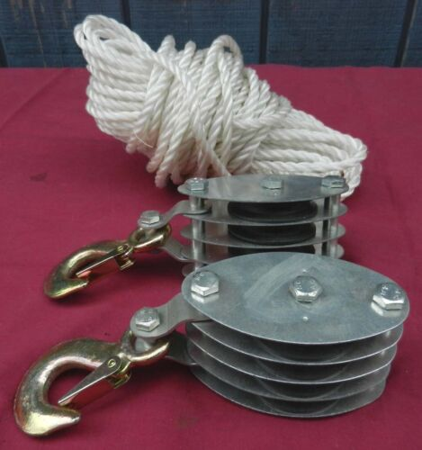 2 New Pulleys & a Length of Rope - Nautical Marine Boat