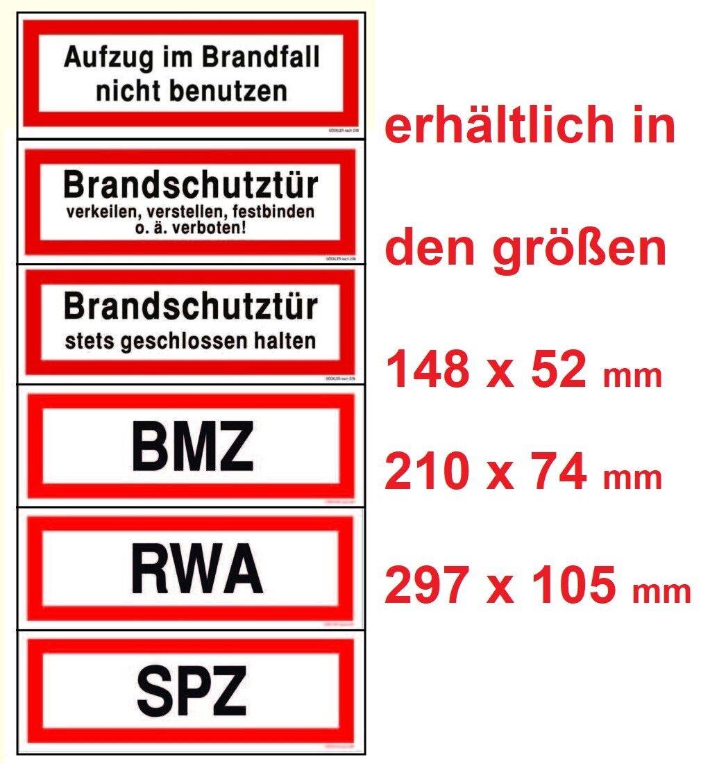 Aufzug im Brandfall nicht benutzen RWA BMZ SPZ nachleuchtend Schilder DIN 4066