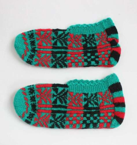 Pair of Vintage Hand Knitted Traditional Ethnic Turkish Slippers