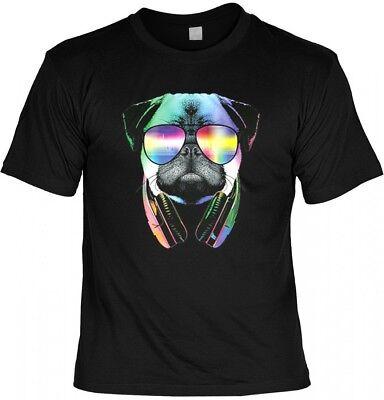 Neon T-Shirt - Bunter Hund - DJ Mops - Motivshirt Geschenk Idee