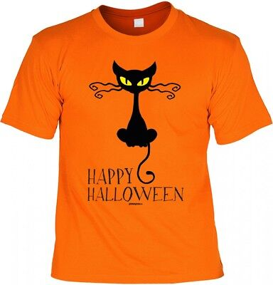 Halloween T-Shirt - Hexen Katze orange gruseliges Shirt Kostüm Verkleidung Party