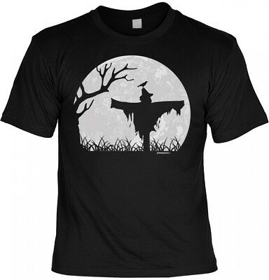 Halloween Voller Kostüme (Halloween T-Shirt - Vogelscheuche im Vollmond - gruseliges Shirt Kostüm Party)