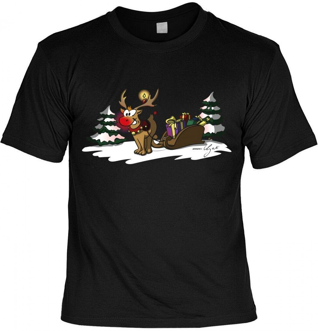 T-Shirt - Rentier Rudolf mit Weihnachtsmann Schlitten - Weihnachtsshirt Festtage