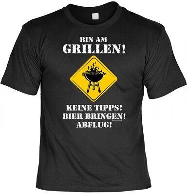 Lustiges T-Shirt Grillen - Bin am Grillen - Keine Tipps, Bier Bringen - Abflug! - Bier Bin