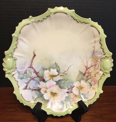 Antique Limoges France HANDPAINTED FLOWER CABINET PLATE GOLD GILT Signed .H.W #5