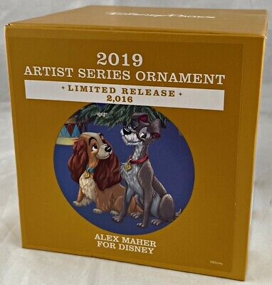 Disney Parks Lady and the Tramp Artist Series Ornament Christmas 2019 Alex Maher