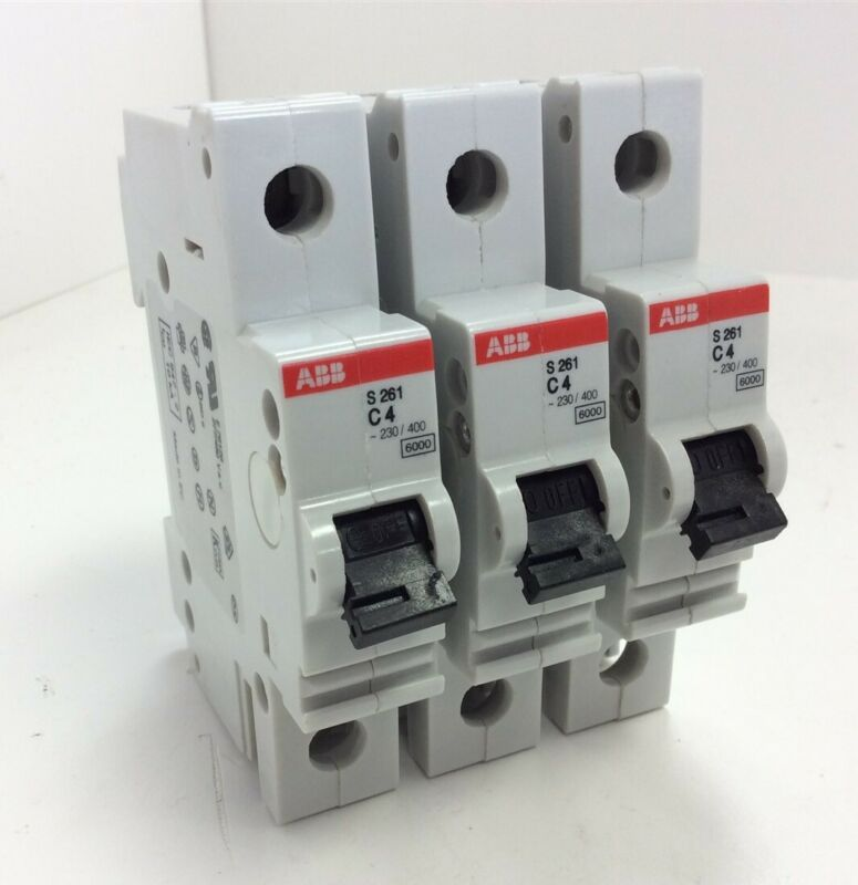 Lot of 3 ABB S261-C4 Circuit Breakers 277/480VAC 1-Pole 4 Amps DIN Rail Mount