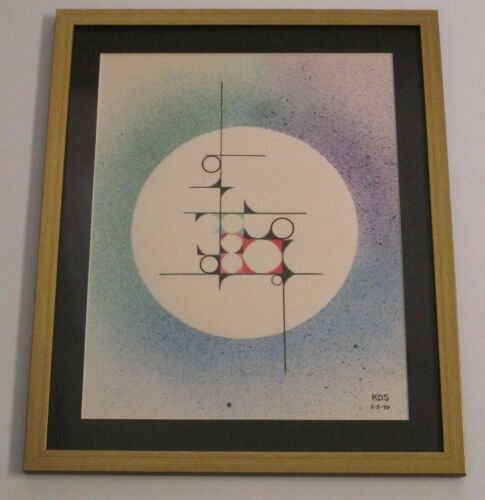 KDS SIGNED MID CENTURY MODERN PAINTING ABSTRACT DRAWING  MODERNISM VINTAGE  1979