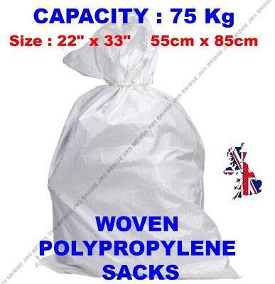 100 x Tough Woven Polypropylene Builder Rubble Sacks Bags. ** ULTRA STRONG **