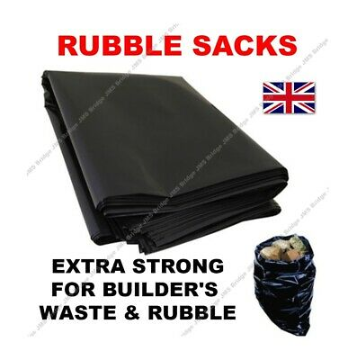 20 X EXTRA LARGE BLACK BUILDERS RUBBLE WASTE SACKS BAGS HEAVY DUTY GARDEN REFUSE