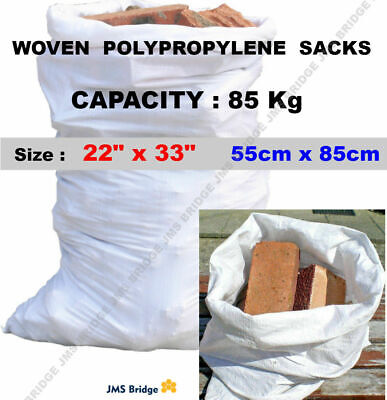 20 SUPER STRONG WHITE WOVEN POLYPROPYLENE HEAVY DUTY RUBBLE BAGS/SACKS BUILDERS