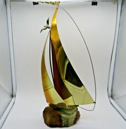 Vintage MCM DeMott Artist Signed Copper Sailboat Sculpture Stone Base Modernist
