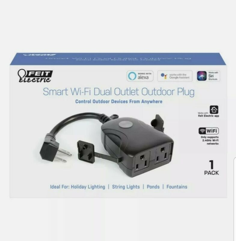Feit Electric Smart Wi-Fi Dual Outlet Outdoor Plug New