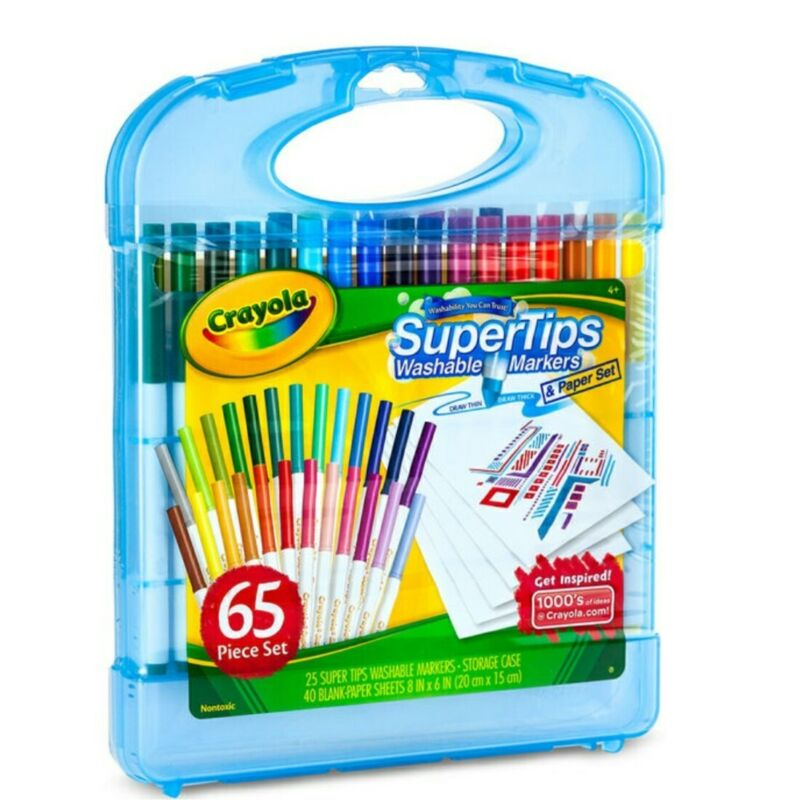 65 Piece Crayola set - 25 super tip  washable markers - 40 sheets paper - case