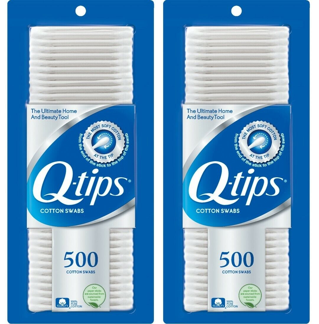 PACK OF 02 Q Tips Original Cotton Swabs 500 count FREE SHIPP
