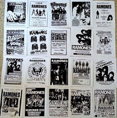 RAMONES 20 Punk flyer set, repro 8.5x11, NYC PUNK, JOEY RAMONE, 1970's-80's