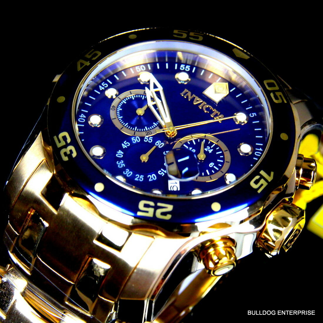 $114.99 - Mens Invicta Pro Diver Scuba Blue 18kt Gold Plated Steel Chronograph Watch New