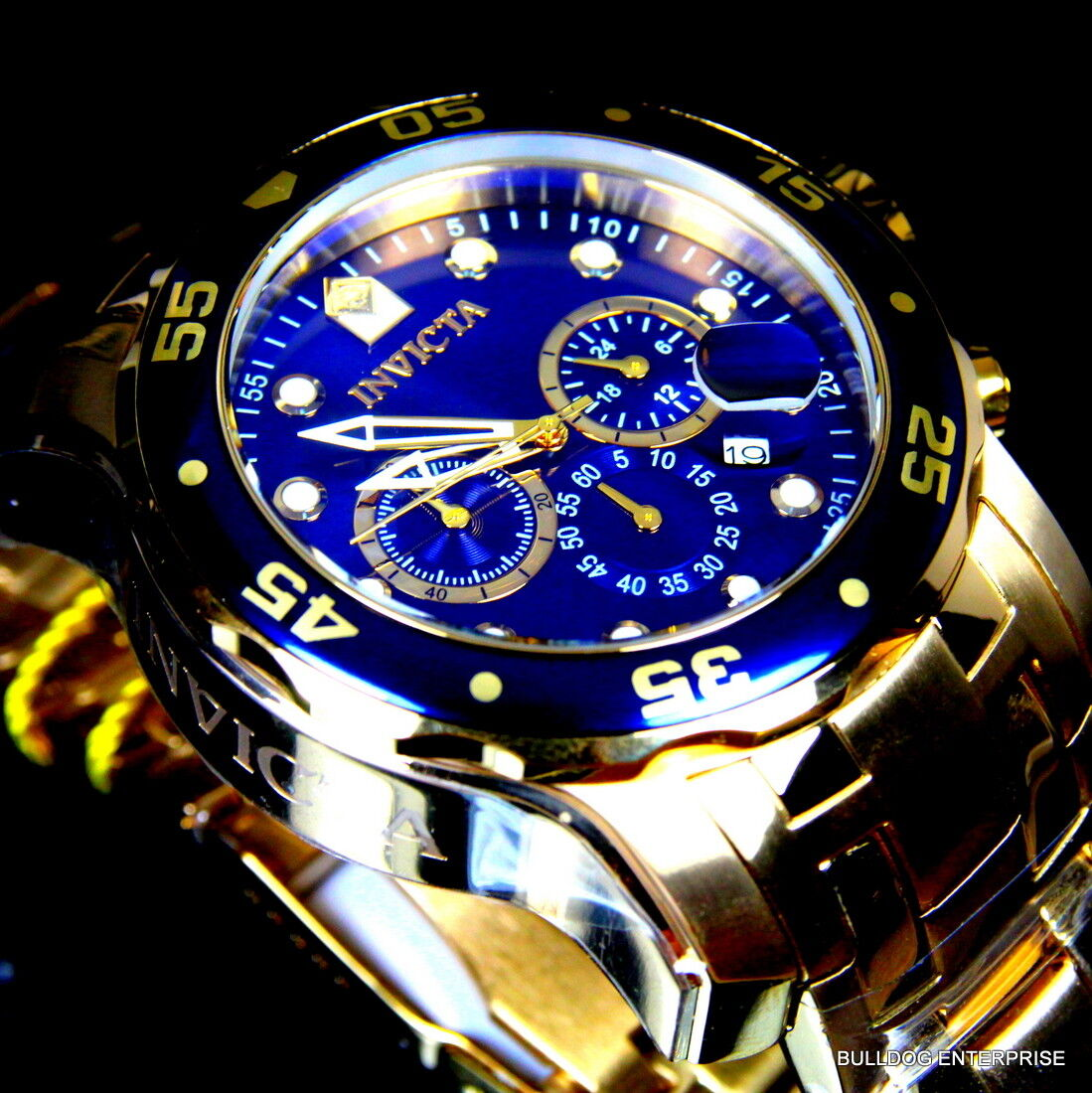 Mens Invicta Pro Diver Scuba Blue 18kt Gold Plated Steel Chronograph Watch New