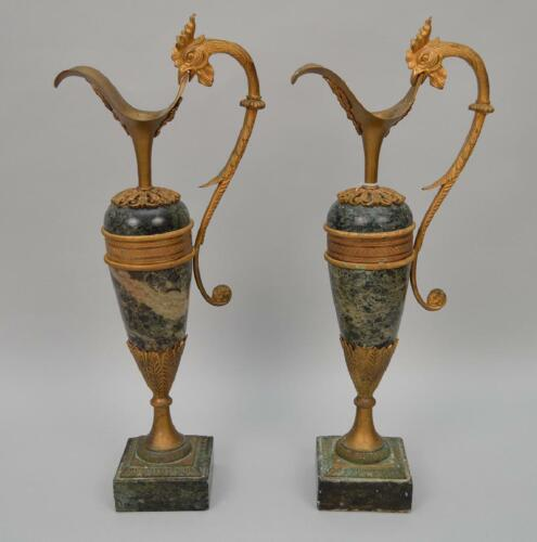 "Gorgeous Pair of Marble and Bronze Urns, 17 1/2""h !!"
