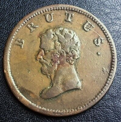 19TH C 1/2 PENNY  TOKEN BRUTUS SMALL   HEAD BCC WITHER 618/25 STRUCK EN MEDAILLE