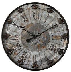 Fleur De Lis Old World Rustic French Country Wall Clock Round Distressed 24