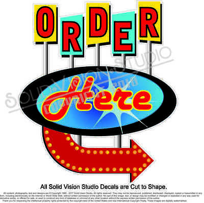 Order Here Concession Trailer Food Truck Ice Cream Truck Vinyl Sign Menu Decal