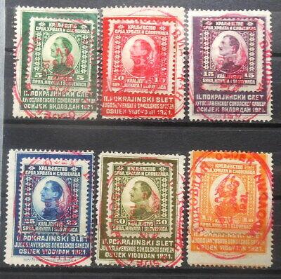 YUGOSLAVIA - OSIJEK VIDOVDAN 1921 FULL SET OF 6 USED STAMPS