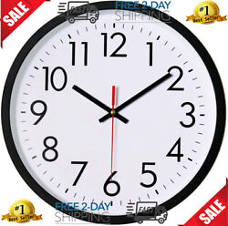 Black Wall Clock, Silent Non-Ticking 12 Inch Quality Quartz Battery Operated