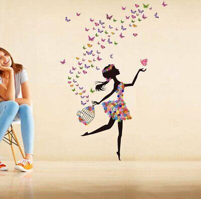Verträumte Mädchen Fliegen Schmeterling Aufkleber Wohnkultur Vinyl Wandaufkleber Verträumte Mädchen