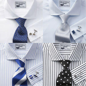 Charles-Wilson-Mens-100-Cotton-Poplin-Double-Cuff-Formal-Business-Dress-Shirt