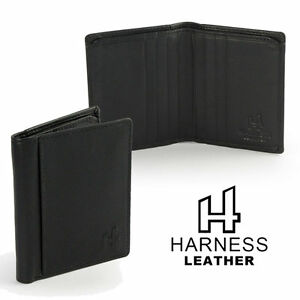 Mens-Small-Slim-Black-Quality-Leather-Bifold-Wallet-Harness-with-1st-Class-Post