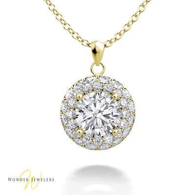 1.2ctw GIA Round Diamond Halo Necklace Pendant 14K Gold D/VS2 (2306589821)