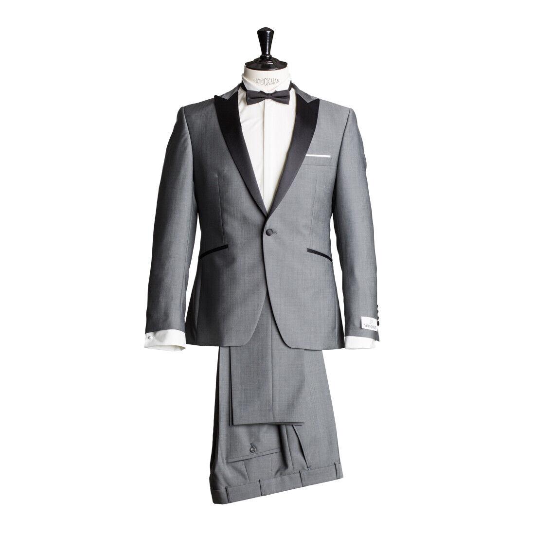 Details zu WILVORST Anzug Smoking Sakko Smoking Hose Grau Drop8 Tailliert Wolle Mohairwolle