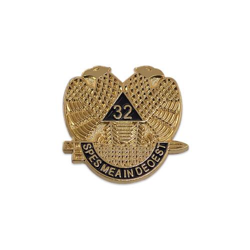 32nd Degree Scottish Rite Masonic Lapel Pin - [Gold & Black][3/4