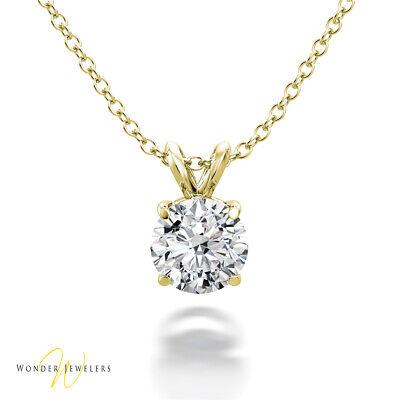 0.8ct GIA Round Diamond Solitaire Necklace Pendant 14K Gold G/SI1 (1295022659)