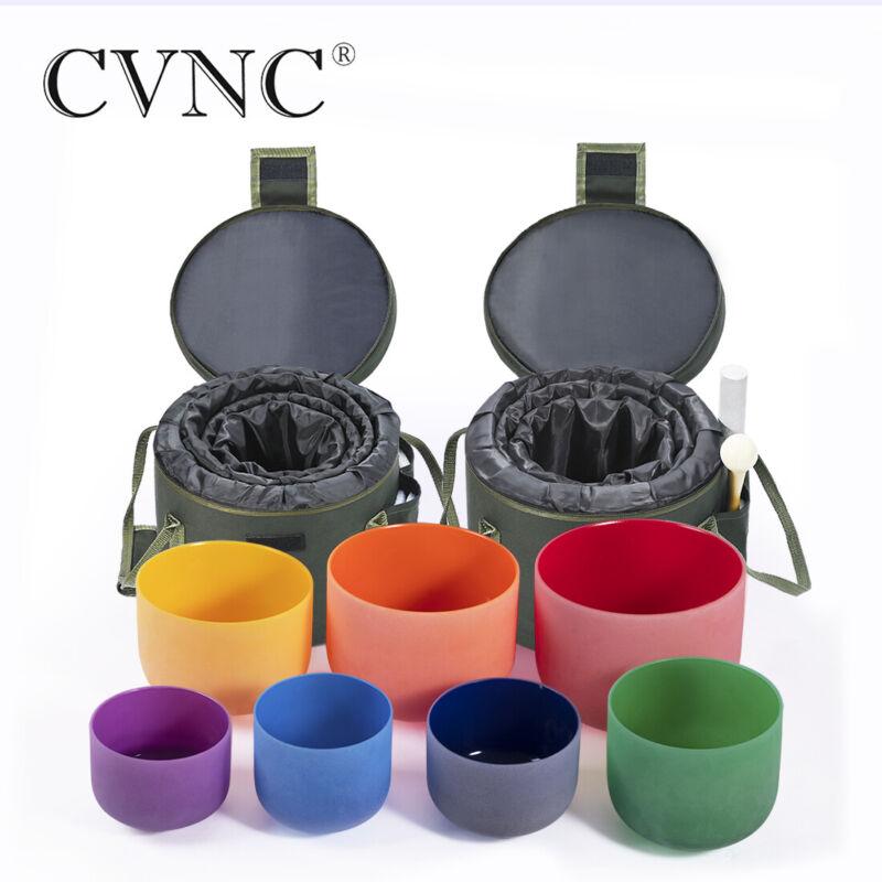 """CVNC 440Hz 6""""-12"""" 7 Pcs Colored Crystal Singing Bowl Set Carry Case Bag Mallet"""