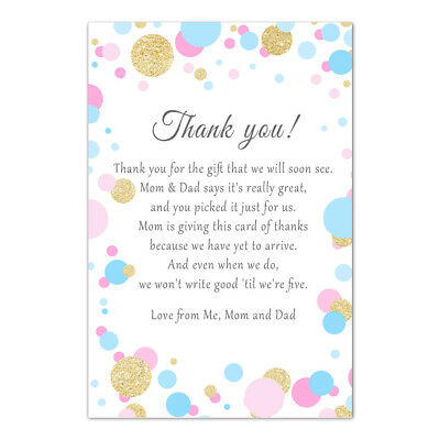 30 thank you card notes baby shower unisex pink blue confetti glitter gold (Thank You Confetti)