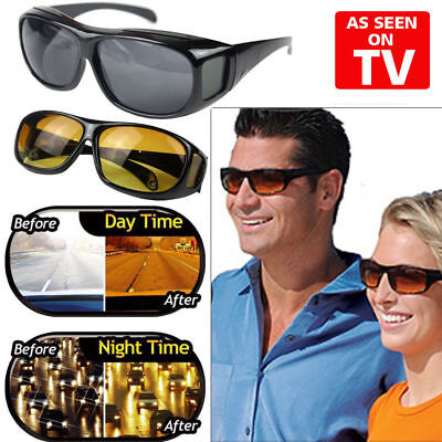 (2 Pair set HD Night Vision Wraparound Sunglasses As Seen on TV Fits OVER Glasses)