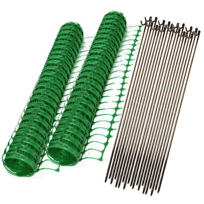 2 x 50m Rolls Green Plastic Mesh Barrier Safety Fencing & 20 Steel Fencing Pins