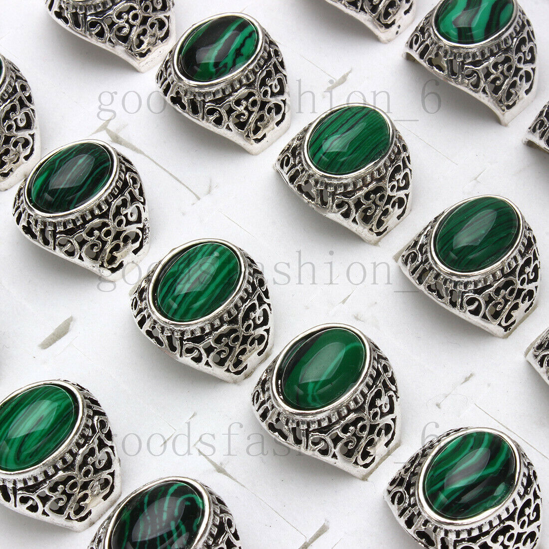 Wholesale lots 5-25pcs Natural Malachite Gemstone Stone Silver Tone Ring FREE