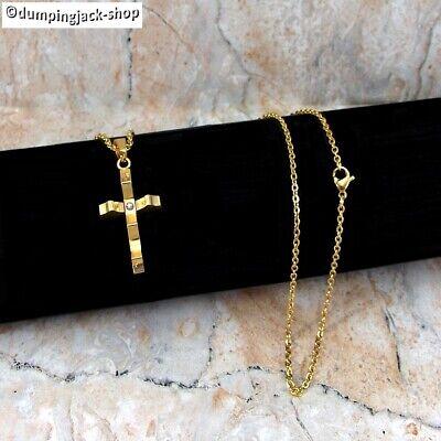 Filigrane Edelstahl Halskette mit Kreuz Anhänger + Schmucksteinchen im Anhänger